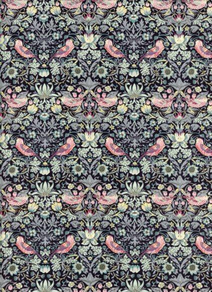 LIBERTYリバティプリントStrawberryThief(ストロベリー・シーフ)3635061-LE国産エターナル柄ブルーグレー&ピンク