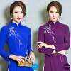 Qipao long shot big size M L XL XXL サイズパープルブルーマキシアオザイ long sleeves dress clothes China clothes qipao sexy China clothes embroidery erhu concert presentation wedding ceremony costume play dress party Christmas