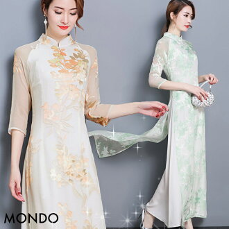 Qipao long shot big size M L XL XXL size orange yellow green long sleeves ワンピースアオザイチャイナドレスレースセクシーチャイナ clothes embroidery erhu concert presentation wedding ceremony costume play dress party Christmas