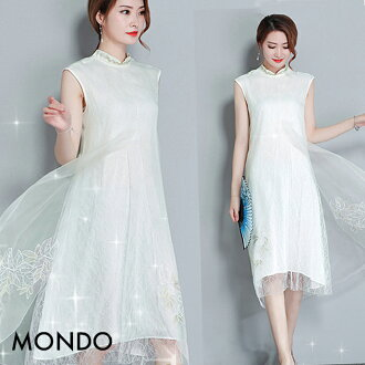 Size China clothes white Halloween concert presentation costume play dress party Christmas that dress modishness big size M L XL XXL size white embroidery long sleeves casual dress type qipao China dress no sleeve has a big