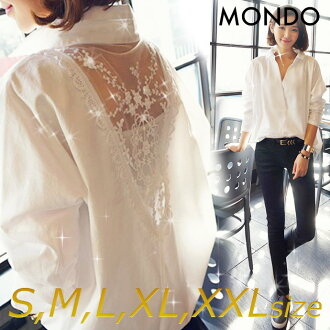 It is clothes in the tops white white size grain sexy Europe and America system resort S M L XL XXL size spring clothes autumn that is hard to become ブラウスレディースシャツレースシースルートップスオフショルシンプルシワ