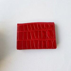 【送料無料】【クロコダイル革 カード入れ】 color:フレームレッド メンズ レディース ブランド 二つ折り 革 おしゃれ かっこいい コンパクト 本革 高級 主婦 プレゼント サイフ 人気ブラン