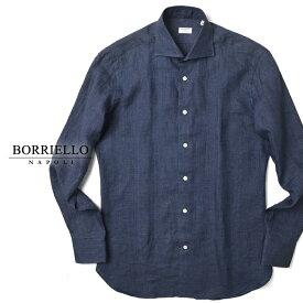 【クリアランス】ボリエッロ BORRIELLO リネンシャツ 8172-1 ネイビー スリムフィット