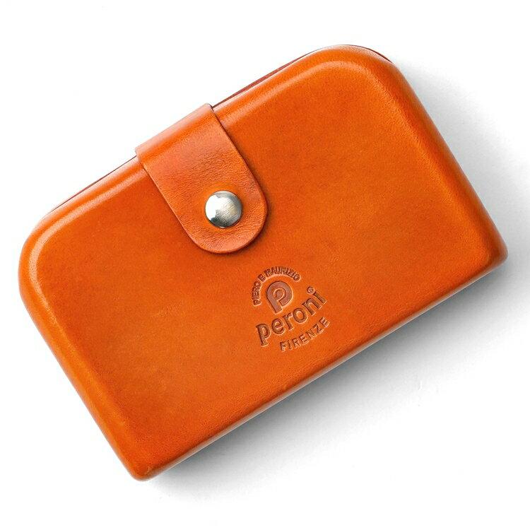 ペローニ PERONI FIRENZE ミニ財布 / 小財布 / スモールウォレット オレンジ コインケース / カードケース / 札入れ GIRAMOND(ジラモンド)【小さい財布 コンパクト 本革 レザー メンズ レディース】
