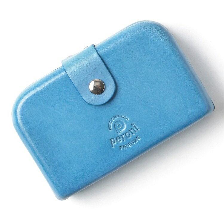 ペローニ PERONI FIRENZE ミニ財布 / 小財布 / スモールウォレット ライトブルー コインケース / カードケース / 札入れ GIRAMOND(ジラモンド) 【小さい財布 コンパクト 本革 レザー メンズ レディース】