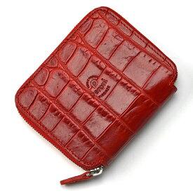 【クリアランス】ペローニ PERONI FIRENZE ミニ財布 型押しクロコ レッド / メンズ / レディース / ミニジップ / ラウンドファスナー / 小さい財布 / プレゼント 1609/K