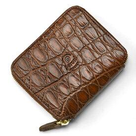 ペローニ PERONI FIRENZE ミニ財布 リアルクロコ ブラウン / メンズ / レディース / ミニジップ / ラウンドファスナー / 小さい財布 1609/C