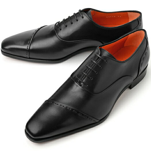 PERTINI ペルティニ ストレートチップ スランテッド 23715 ブラック【サイズ交換無料】【ドレスシューズ 革靴 ビジネス メンズ インポート】