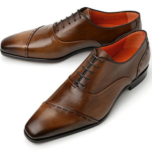 PERTINI ペルティニ ストレートチップ スランテッド 23715 ブラウン【サイズ交換無料】【ドレスシューズ 革靴 ビジネス メンズ インポート】