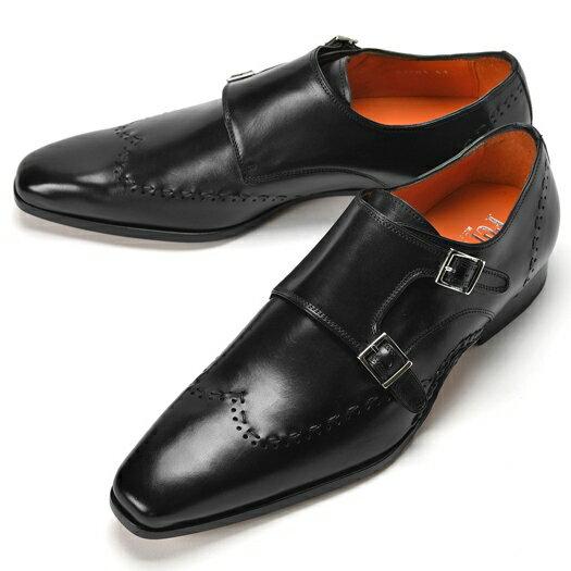 PERTINI ペルティニ オパンケ ダブルモンクストラップ / ウイングチップ 23701 ブラック【サイズ交換無料】【ドレスシューズ 革靴 ビジネス メンズ インポート】