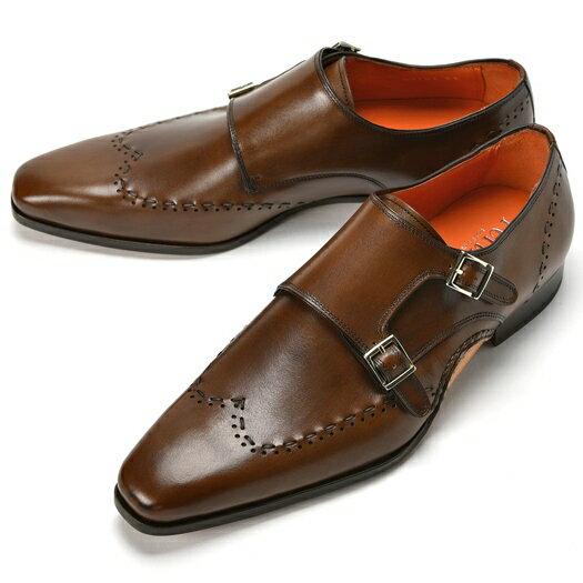PERTINI ペルティニ オパンケ ダブルモンクストラップ / ウイングチップ 23701 ブラウン【サイズ交換無料】【ドレスシューズ 革靴 ビジネス メンズ インポート】