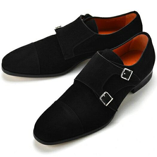 PERTINI ペルティニ ダブルモンクストラップ 23726 スエード ブラック 【サイズ交換無料】【ドレスシューズ 革靴 ビジネス メンズ インポート】