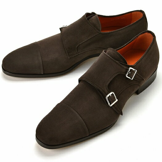 PERTINI ペルティニ ダブルモンクストラップ 23726 スエード ダークブラウン 【サイズ交換無料】【ドレスシューズ 革靴 ビジネス メンズ インポート】