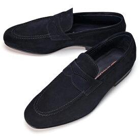 【クリアランス】サントーニ SANTONI 15609 ローファー スエード ネイビー【ドレスシューズ 革靴 ビジネス メンズ】