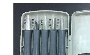 すべりにくい柄なので安全よしはる彫刻刀付鋼タイプ5本組GX-5右利き用
