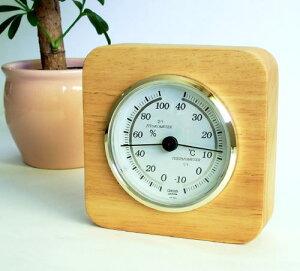 クレセル天然木枠温湿度計CR-620
