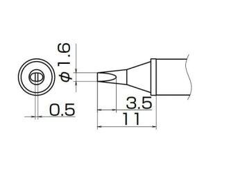 백광 (HAKKO) FX-950/951/952 형식 전용 흙 앞 T12 시리즈 1.6 WD 형식 T12-WD16
