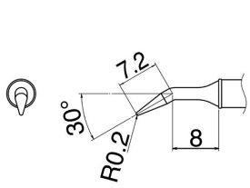 白光(HAKKO)ステーション型はんだごて FX100-81用交換こて先 J型T31-JL02