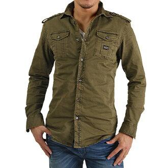 长袖子军事棉布伸展衬衫S-KOI COTTON SHIRT西部衬衫人