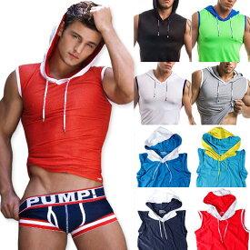 PUMP パンプ スリーブレス パーカー タンクトップ BEACH HOOD TANK トレーニングウェア トップス PUMP! Underwear メンズ 男性 スポーツウェア フィットネス 筋トレ