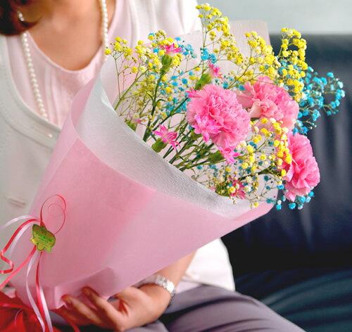母の日 早割 ロマンチックかすみ草<選べる・スマイルブーケ>キラキラ輝く花束アレンジメント。 [花 花束 母の日 ギフト お祝い プレゼント バースデー 誕生日 歓迎会 送迎会 開店祝い 結婚祝い 結婚式 定年 退職 送別 などに◎なフラワーギフトにもおすすめ