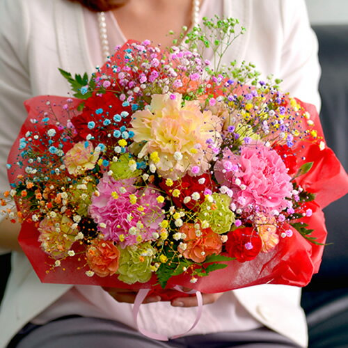 母の日 早割 ロマンチックかすみ草<ミックス・スマイルバスケット>キラキラ輝く花カゴアレンジメント。自立ブーケ [花 母の日 ギフト 父の日 内祝い 花束 カーネーション 発表会 お祝い プレゼント バースデー 誕生日にもおすすめ