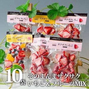 そのまんまサクサクいちご&フルーツMIX 10袋入 摘みたてイチゴをそのまま瞬間冷凍 冷凍苺 | いちご イチゴ 苺 冷凍 フルーツ 冷凍 果物 冷凍 くだもの お取り寄せ【WS】