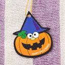 【ネコポスOK】ハロウィンのお化けかぼちゃ ジャック・オ・ランタンの金のゴム紐付きタッグ10枚入