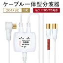 分波器 テレビ アンテナケーブル 4K 8K BS CS 地デジ 入力 ケーブル付き 一体型 1.5m 0.3m 4K ノイズに強い プラチナ…