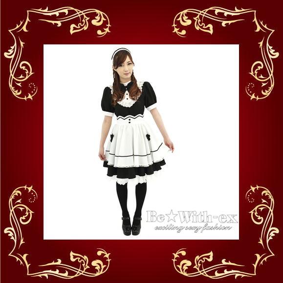 アキバ系萌えコスプレ メイドさん ブラック×ホワイト