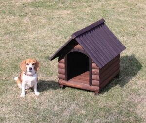 天然木の質感を活かしたログハウス風のおしゃれな木製犬舎 犬小屋