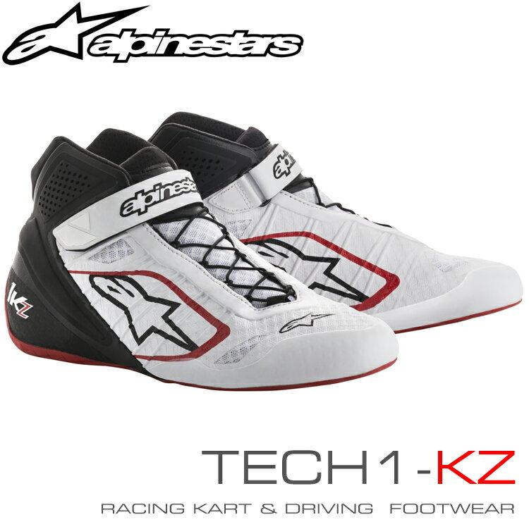 アルパインスターズ レーシングシューズ TECH1-KZ ホワイト×ブラック×レッド(213) レーシングカート・走行会用 (2713018-213)