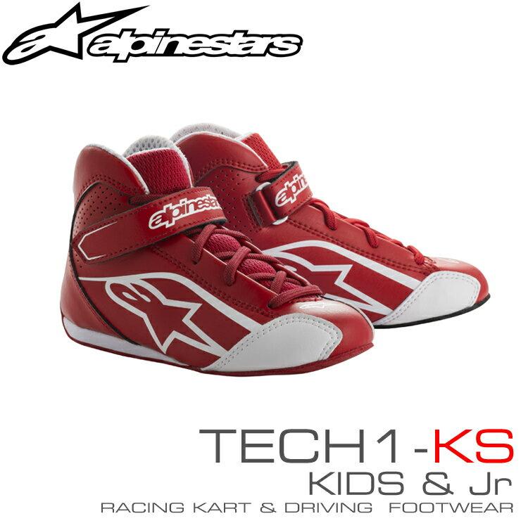 アルパインスターズ レーシングシューズ TECH1-KS レッド×ホワイト(32) KIDS/Jr用 レーシングカート・走行会用 (2712518-32)