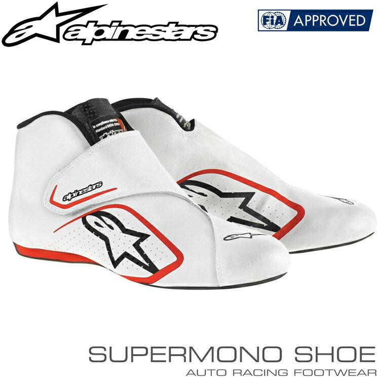 アルパインスターズ レーシングシューズ SUPERMONO SHOES ホワイト×レッド(23) FIA8856-2000公認モデル