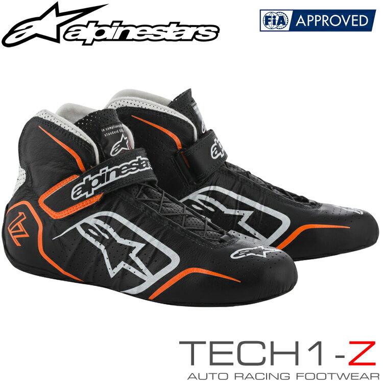 2019NEWカラー アルパインスターズ レーシングシューズ TECH1-Z ブラック×ホワイト×オレンジフルーオ(1241) FIA8856-2000公認モデル (2715015-1241)