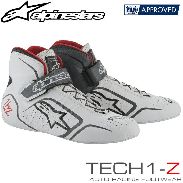 2019NEWカラー アルパインスターズ レーシングシューズ TECH1-Z ホワイト×グレー×レッド(209) FIA8856-2000公認モデル (2715015-209)
