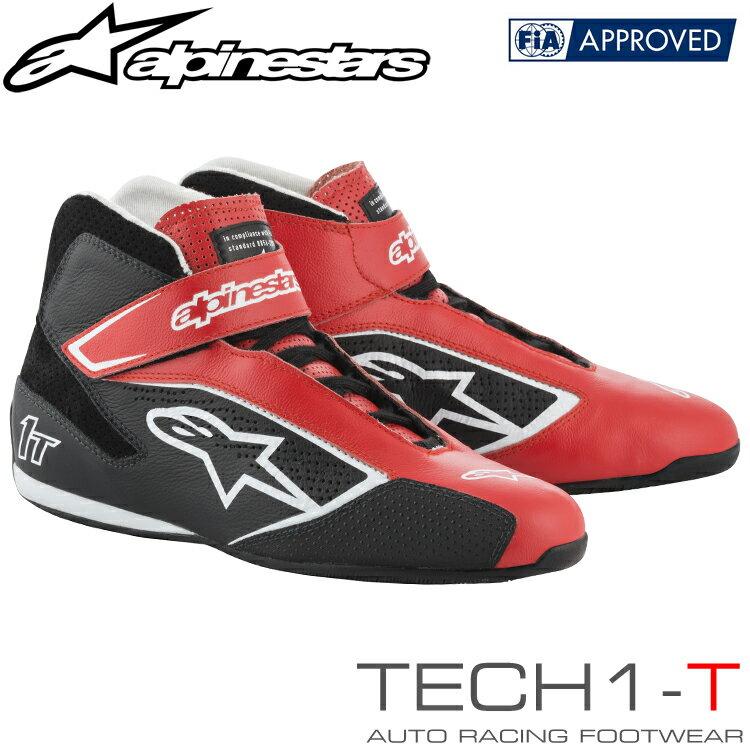 2019NEWモデル アルパインスターズ レーシングシューズ TECH1-T レッド×ブラック×ホワイト(312) FIA8856-2000公認モデル (2710019-312)