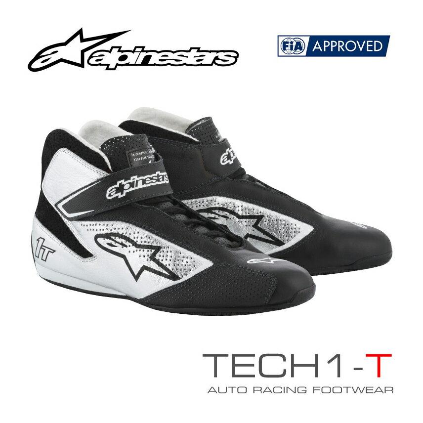 2019NEWモデル アルパインスターズ レーシングシューズ TECH1-T ブラック×シルバー(119) FIA8856-2000公認モデル (2710019-119)