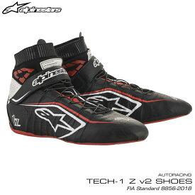 アルパインスターズ レーシングシューズ TECH1 Z v2 ブラック×ホワイト×レッド(123) FIA8856-2018公認モデル AUTO RACING SHOES (2715020-123)