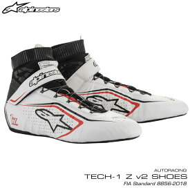 アルパインスターズ レーシングシューズ TECH1 Z v2 ホワイト×ブラック×レッド(213) FIA8856-2018公認モデル AUTO RACING SHOES (2715020-213)
