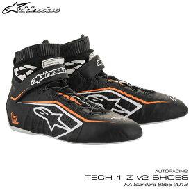 アルパインスターズ レーシングシューズ TECH1 Z v2 ブラック×ホワイト×オレンジ(1241) FIA8856-2018公認モデル AUTO RACING SHOES (2715020-1241)