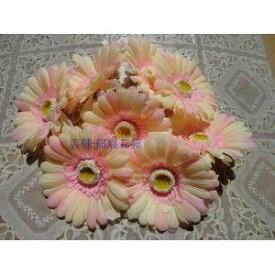 造花 ガーベラ 花のみ 10センチ 30個 (クリーム×ライトピンク)