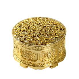 香炉 小物入れ ツタ柄の透かし風 アンティーク調 金属製 (ゴールド)