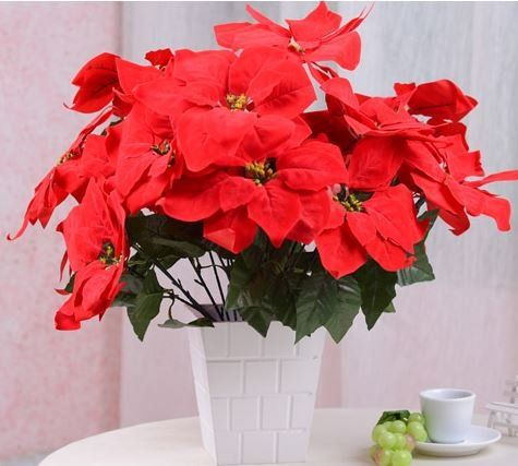 造花 ポインセチア 6本 30個の花