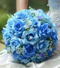 造花 バラ ブーケ 直径25cm (ブルー)