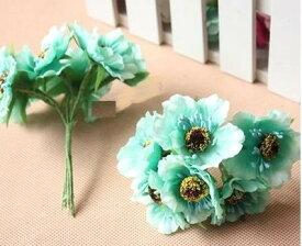 造花 花束 ミニサイズ 花6個×10束セット (ミントブルー)