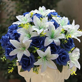 造花 ユリ バラ ブーケ 直径40cm (ホワイト×ブルー)