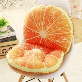 クッション 背もたれ付き座布団 リアルなフルーツ柄 (オレンジ)