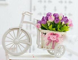 置物 ミニバラを乗せた小さな白い自転車 (パープル系, 春色系列)