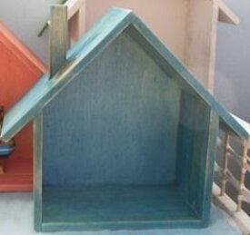 小物ラック 収納棚 ナチュラル おうち型 木製 (ブルー)